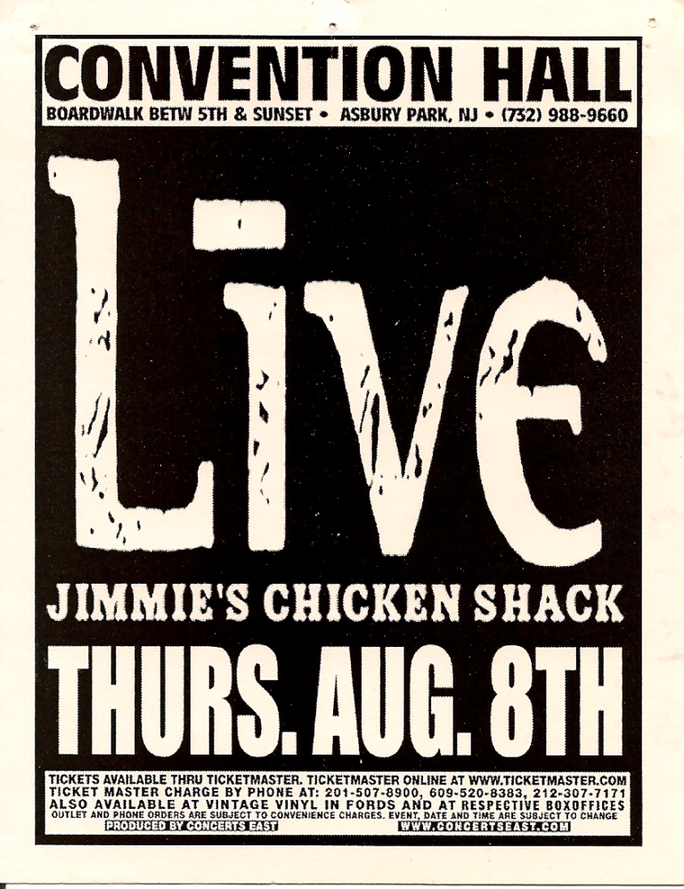Concert Flyer: Live w/ Jimmie's Chicken Shack – Convention Hall – Asbury Park, NJ – August 8th, 2002