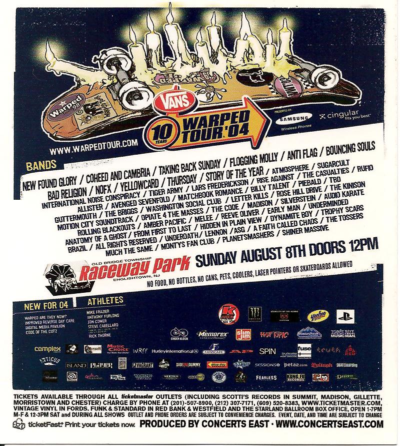 Concert Flyer: Vans Warped Tour - Raceway Park - Old Bridge, NJ - August 8th, 2004
